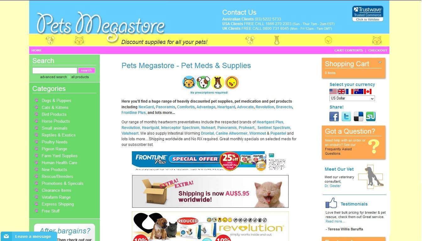 Pets Megastore, established in , is a family business and is proudly % Australian owned and operated. Pets Megastore started trading November Most of the Pets-Megastore staff has been showing and breeding animals and has been involved in the pet care industry for over 30 years.. Our company sells a wide range of quality animal health care products and supplies designed for the.