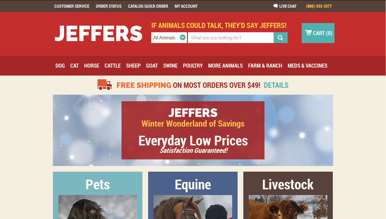 Jeffers Pet Coupons. Jeffers is one of the largest privately owned catalog and eCommerce animal health supply retailers. Jeffers' climb to the top of the market is a direct result of unprecedented customer service, hard work, and dedication to ensure the customer receives the highest quality product at the most reasonable price.