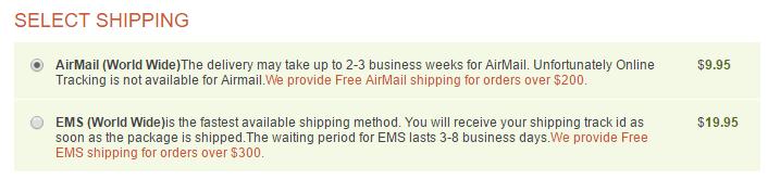 Penegra Shipping Cost