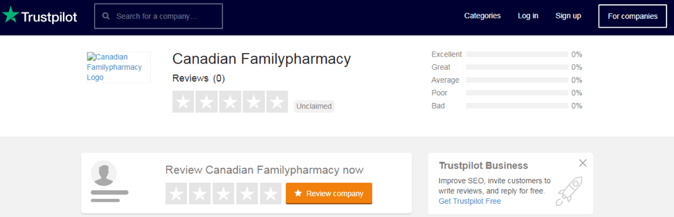 Canadian Family Pharmacy trustpilot