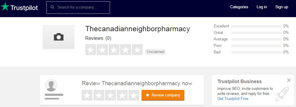 Canadian Neighbor Pharmacy trustpilot