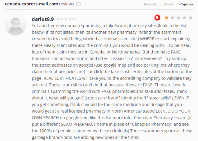 Canada-express-mall.com reviews