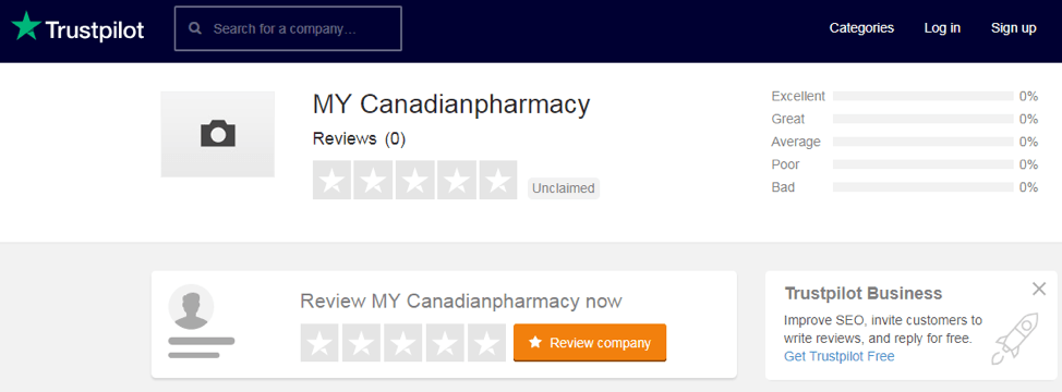 My Canadian Pharmacy trustpilot