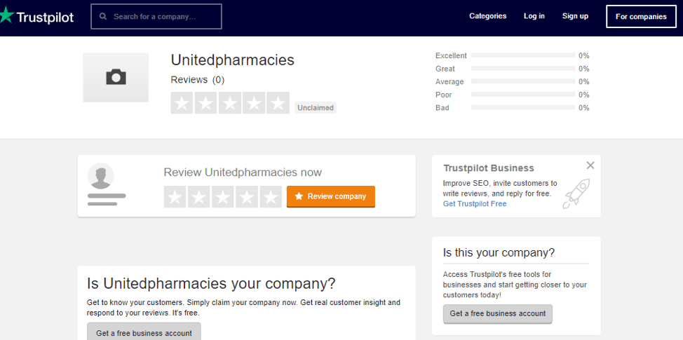 United Pharmacies Trustpilot
