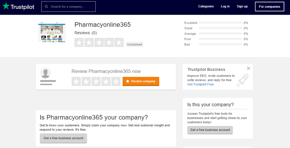 Pharmacyonline365.com Trustpilot Reviews